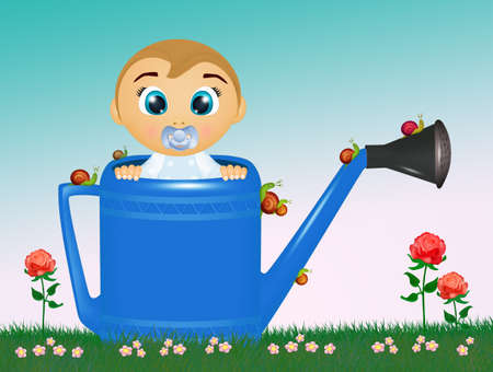illustration of baby boy in the watering can Banco de Imagens
