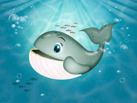illustration of whale in the ocean