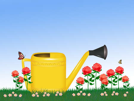 illustration of yellow watering can