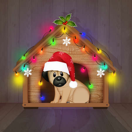 dog kennel decked out for Christmas Stock Photo
