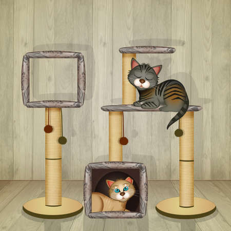 illustration of Scratching Post and cat house