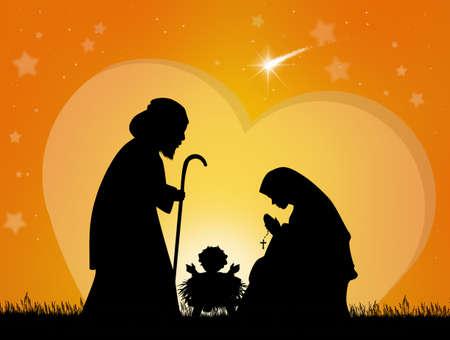 illustration of Christmas Nativity scene