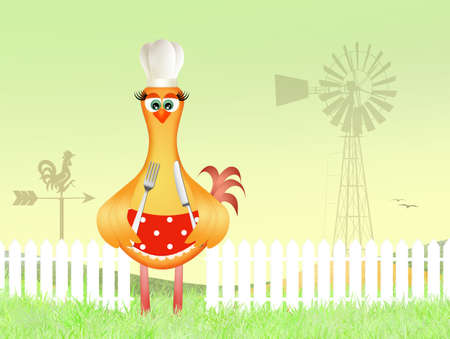 funny illustration of chicken cook