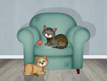 scratch-resistant armchair with kittens