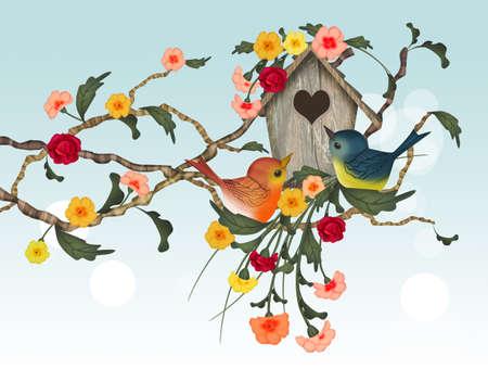 little bird house in winter Stockfoto