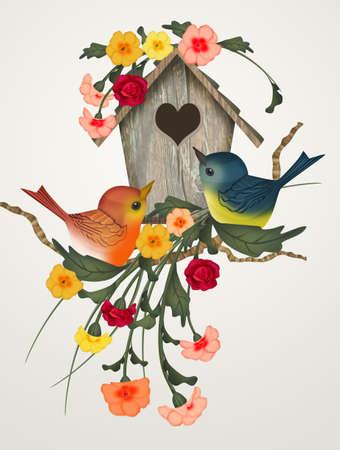 illustration of bird house in spring
