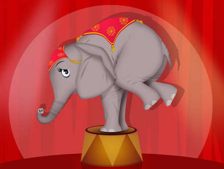illustration of elephant performs at the circus