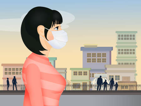 Woman with surgical mask for virus infection