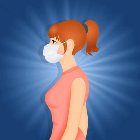 Woman with surgical mask for virus infection Stockfoto - 142143097
