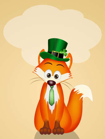 Postcard for Saint Patrick day with fox wearing hat