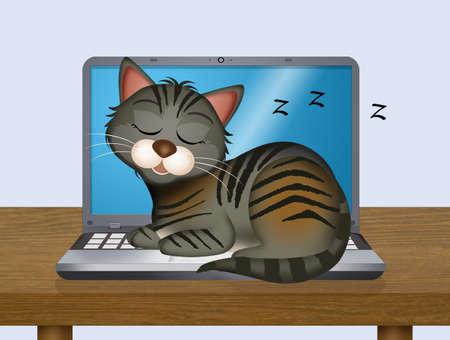illustration of cat sleeps on the laptop