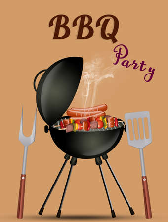 illustration of barbecue party