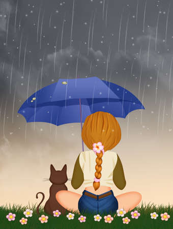 girl with kitten looking the rain sitting in the grass Imagens