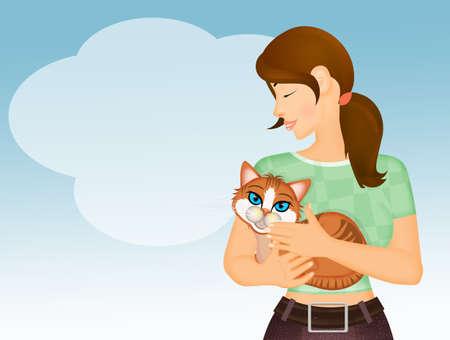 girl takes care of the cat Zdjęcie Seryjne