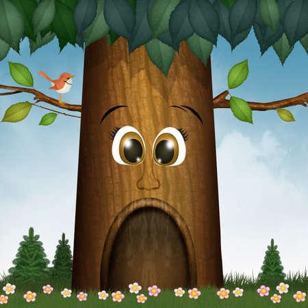 illustration of tree with face Zdjęcie Seryjne
