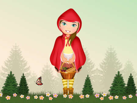 funny illustration of little red riding hood in the wood Zdjęcie Seryjne
