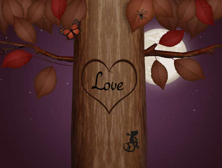 love engraving on the tree trunk Zdjęcie Seryjne