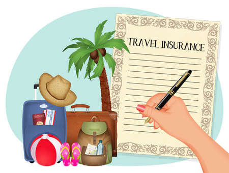 illustration of travel insurance Zdjęcie Seryjne
