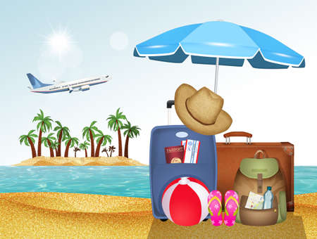 illustration of luggage and useful items for the holidays
