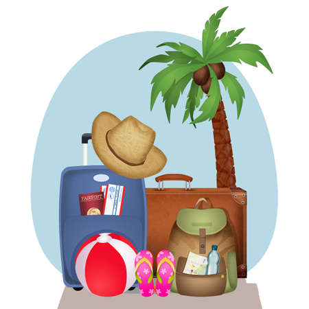 illustration of objects and luggage for vacation