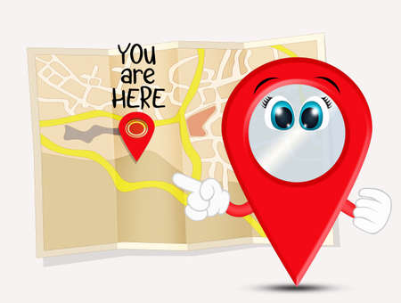 funny illustration of you are here location map