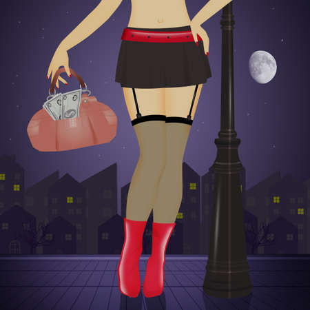 illustration of sexy prostitutes on the street