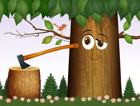 illustration of ax not to cut tree trunks