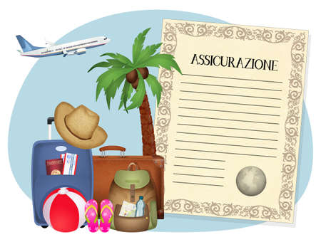 illustration of travel insurance Zdjęcie Seryjne