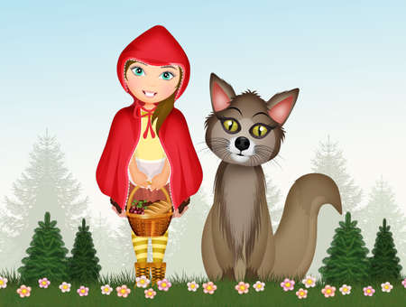 illustration of little red riding hood and the wolf