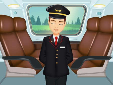 train controller between wagons 免版税图像