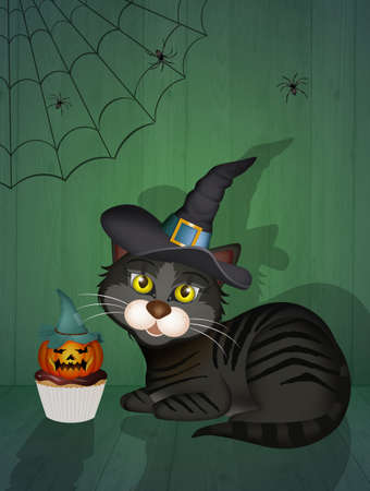 Halloween cat with trick or treat