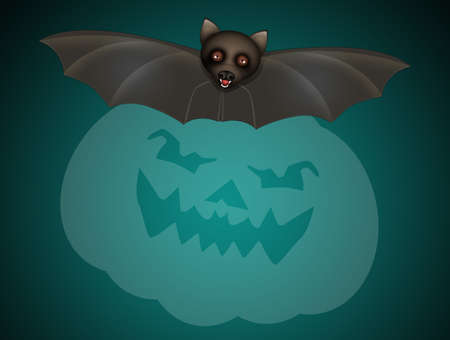 illustration of Halloween card with funny bats