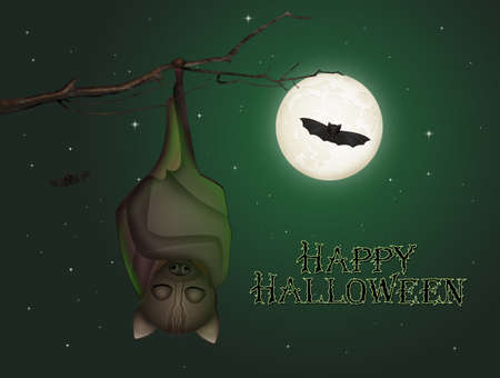 illustration of Halloween card with funny bats Zdjęcie Seryjne - 157497400