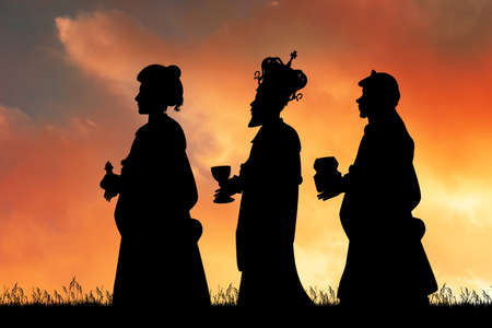 silhouette of the Three wise men with gifts