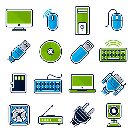Collection of icons for computer devices and accessories. Illustration