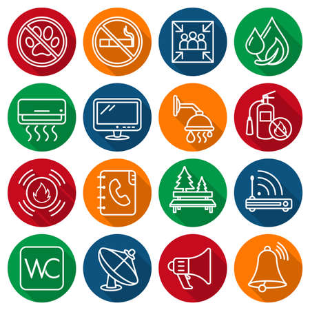 Set of information icons  labels, symbols of housing facilities