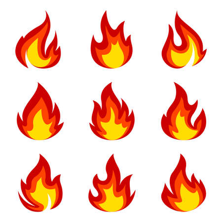 Set of flame icon