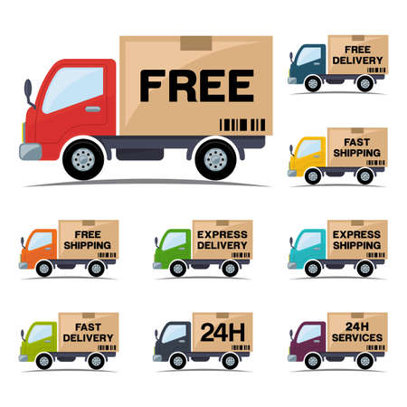 Free delivery and shipping icons with truck Stock Vector - 82149159