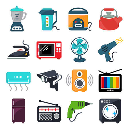 set of illustration icon for household appliance