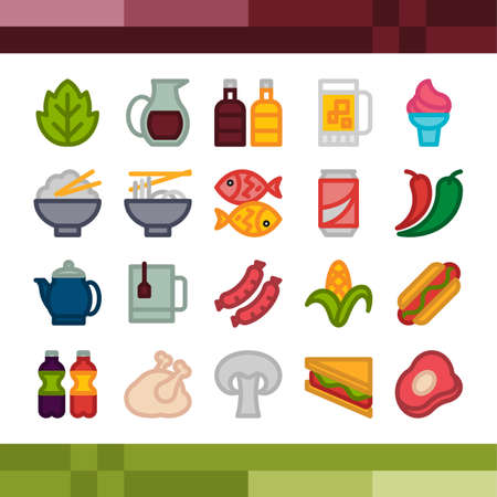 Set of food and drink icons Illustration