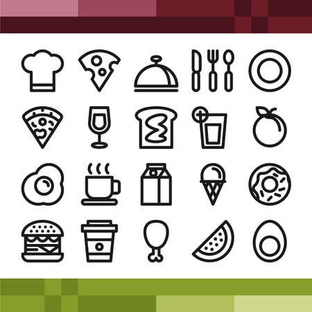 Set van voedsel en drank iconen in overzicht stijl