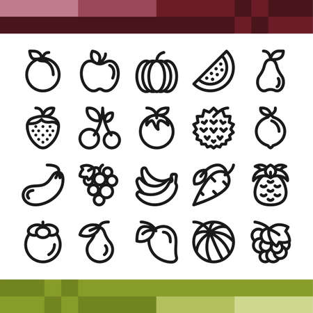 Set of food and drink icons in outline style Illustration