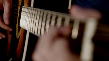 man playing guitar close up. Stock Photo