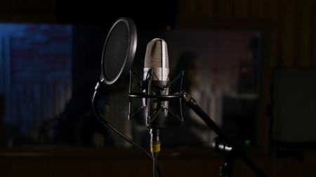 Microphone on a stand located in a music studio recording booth under low key light. Imagens