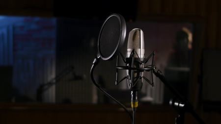 Microphone on a stand located in a music studio recording booth under low key light. Banco de Imagens