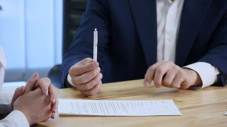 autograph: Client signing documents and gets car keys. Stock Photo
