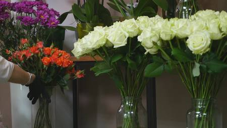 beautify: Collection of beautiful roses for sale at a floristic shop. Stock Photo