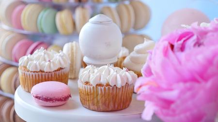 ombre: Delicious wedding reception candy bar dessert table. Stock Photo