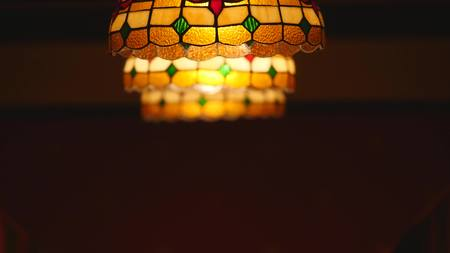 chandelier background: Colorful lantern with mosaic design.