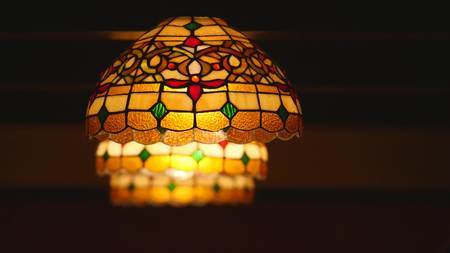 Colorful lantern with mosaic design.